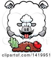 Cartoon Chubby Sheep Flying And Eating