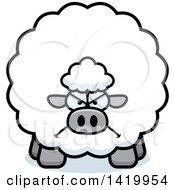 Clipart Of A Cartoon Mad Chubby Sheep Royalty Free Vector Illustration by Cory Thoman