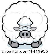 Clipart Of A Cartoon Depressed Chubby Sheep Royalty Free Vector Illustration by Cory Thoman