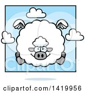 Clipart Of A Cartoon Chubby Sheep Flying Royalty Free Vector Illustration by Cory Thoman