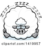 Clipart Of A Cartoon Chubby Sheep Sleeping Royalty Free Vector Illustration by Cory Thoman