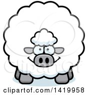 Clipart Of A Cartoon Chubby Sheep Royalty Free Vector Illustration