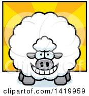 Clipart Of A Cartoon Chubby Sheep Over Rays Royalty Free Vector Illustration by Cory Thoman