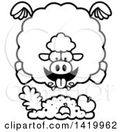 Cartoon Black And White Lineart Chubby Sheep Flying And Eating
