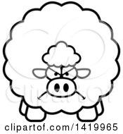 Cartoon Black And White Lineart Mad Chubby Sheep
