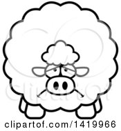 Clipart Of A Cartoon Black And White Lineart Depressed Chubby Sheep Royalty Free Vector Illustration
