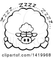 Cartoon Black And White Lineart Chubby Sheep Sleeping