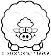 Cartoon Black And White Lineart Chubby Sheep
