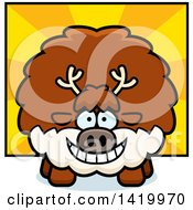 Clipart Of A Cartoon Chubby Reindeer Over Rays Royalty Free Vector Illustration by Cory Thoman