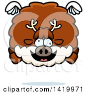 Clipart Of A Cartoon Chubby Crazy Reindeer Flying Royalty Free Vector Illustration