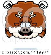Cartoon Chubby Crazy Reindeer Flying