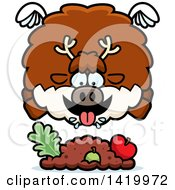 Cartoon Chubby Reindeer Flying And Eating