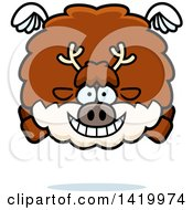 Clipart Of A Cartoon Chubby Reindeer Flying Royalty Free Vector Illustration by Cory Thoman