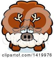 Cartoon Depressed Chubby Reindeer
