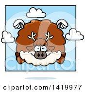 Cartoon Chubby Reindeer Flying
