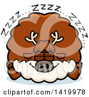 Clipart Of A Cartoon Chubby Reindeer Sleeping Royalty Free Vector Illustration by Cory Thoman