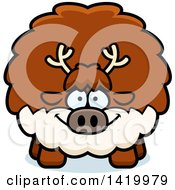 Clipart Of A Cartoon Chubby Reindeer Royalty Free Vector Illustration