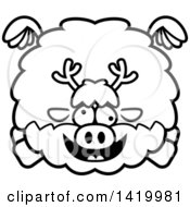 Clipart Of A Cartoon Black And White Lineart Chubby Crazy Reindeer Flying Royalty Free Vector Illustration