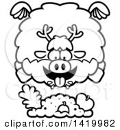 Cartoon Black And White Lineart Chubby Reindeer Flying And Eating