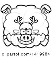 Cartoon Black And White Lineart Chubby Reindeer Flying