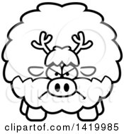 Cartoon Black And White Lineart Mad Chubby Reindeer