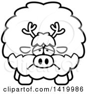 Clipart Of A Cartoon Black And White Lineart Depressed Chubby Reindeer Royalty Free Vector Illustration