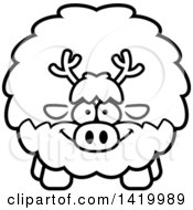 Clipart Of A Cartoon Black And White Lineart Chubby Reindeer Royalty Free Vector Illustration by Cory Thoman
