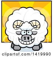 Clipart Of A Cartoon Chubby Ram Sheep Over Rays Royalty Free Vector Illustration by Cory Thoman