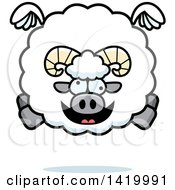 Clipart Of A Cartoon Chubby Crazy Ram Sheep Flying Royalty Free Vector Illustration by Cory Thoman