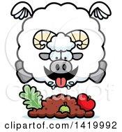 Cartoon Chubby Ram Sheep Flying And Eating