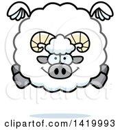 Cartoon Chubby Ram Sheep Flying