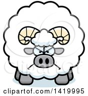 Clipart Of A Cartoon Mad Chubby Ram Sheep Royalty Free Vector Illustration by Cory Thoman