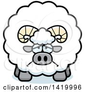 Clipart Of A Cartoon Depressed Chubby Ram Sheep Royalty Free Vector Illustration by Cory Thoman