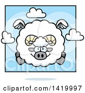 Clipart Of A Cartoon Chubby Ram Sheep Flying Royalty Free Vector Illustration by Cory Thoman