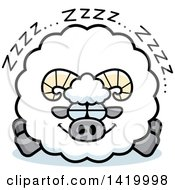 Clipart Of A Cartoon Chubby Ram Sheep Sleeping Royalty Free Vector Illustration by Cory Thoman