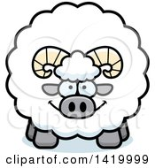 Clipart Of A Cartoon Chubby Ram Sheep Royalty Free Vector Illustration