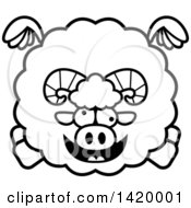 Clipart Of A Cartoon Black And White Lineart Chubby Crazy Ram Sheep Flying Royalty Free Vector Illustration