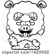 Cartoon Black And White Lineart Chubby Ram Sheep Flying And Eating