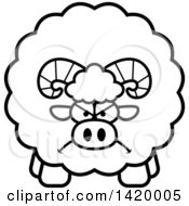Cartoon Black And White Lineart Mad Chubby Ram Sheep