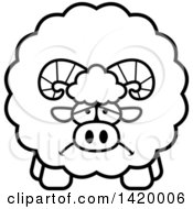 Clipart Of A Cartoon Black And White Lineart Depressed Chubby Ram Sheep Royalty Free Vector Illustration