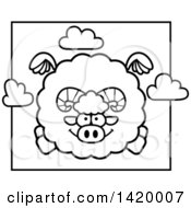 Cartoon Black And White Lineart Chubby Ram Sheep Flying