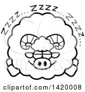 Cartoon Black And White Lineart Chubby Ram Sheep Sleeping