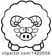 Cartoon Black And White Lineart Chubby Ram Sheep