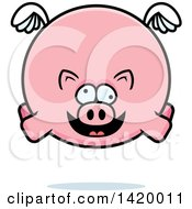 Clipart Of A Cartoon Chubby Crazy Pig Flying Royalty Free Vector Illustration