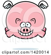 Clipart Of A Cartoon Chubby Pig Flying Royalty Free Vector Illustration