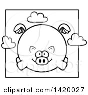 Cartoon Black And White Lineart Chubby Pig Flying