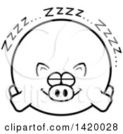 Cartoon Black And White Lineart Chubby Pig Sleeping