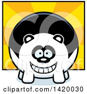 Clipart Of A Cartoon Chubby Panda Over Rays Royalty Free Vector Illustration by Cory Thoman