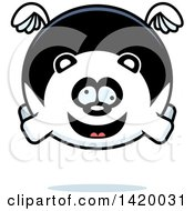 Clipart Of A Cartoon Chubby Crazy Panda Flying Royalty Free Vector Illustration by Cory Thoman