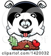 Clipart Of A Cartoon Chubby Panda Flying And Eating Royalty Free Vector Illustration